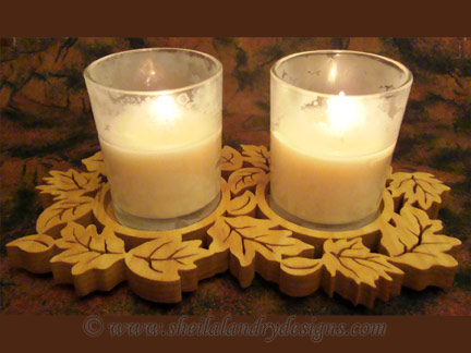 Autumn Votive Candle Tray Scroll Saw Pattern