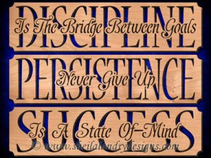 Discipline Persistence Success Scroll Saw Pattern