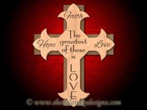 Faith Hope Love Scroll Saw Cross