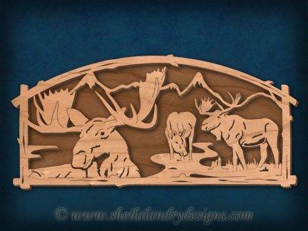Moose Scene Laser Wildlife Pattern