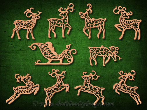 Reindeer Ornaments Laser Pattern