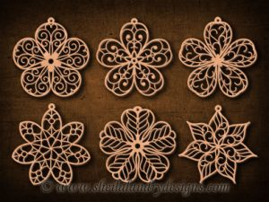 Scroll Saw Flower Ornaments