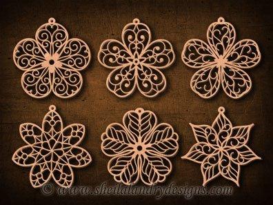 Scroll Saw Flower Ornaments