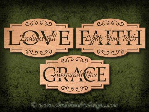 Scroll Saw Love Faith Grace Pattern