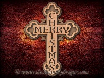 Scroll Saw Merry Christmas Cross