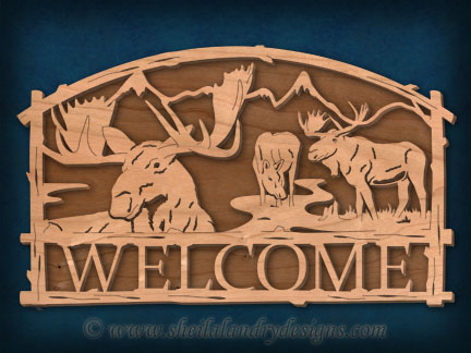 Scroll Saw Moose Welcome Pattern
