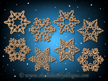 Snowflake Ornaments Silhouette Patterns