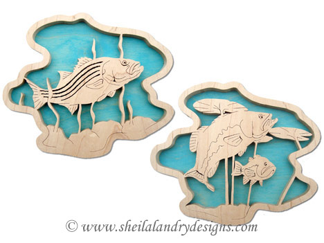 Striped & Largemouth Bass Scroll Saw Pattern