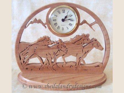Wild Horses Clock Scroll Saw Pattern