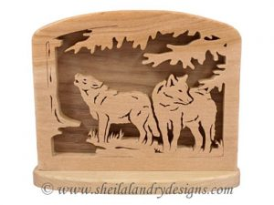 Wolves Napkin Holder Scroll Saw Pattern