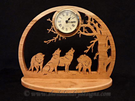 Wolves Scroll Saw Clock Pattern