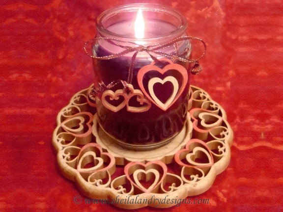 Hearts Scroll Saw Candle Tray Pattern