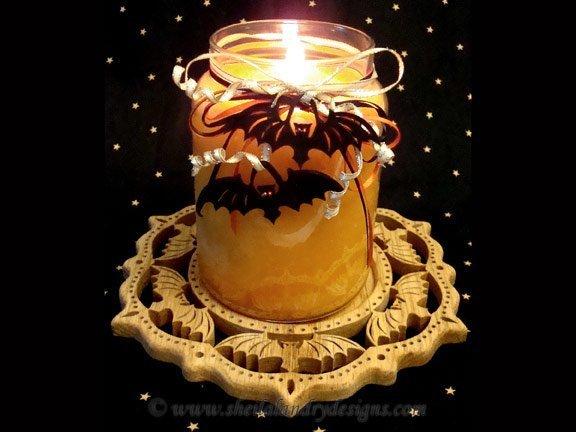 Scroll Saw Bat Candle Tray