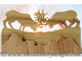 Scroll Saw Butting Elk Tealight