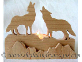 Scroll Saw Wolves Tealight Pattern