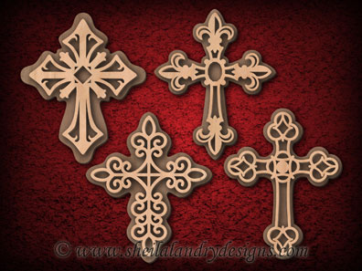 Cross Ornaments Laser Pattern