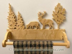 Deer Scroll Saw Towel Holder