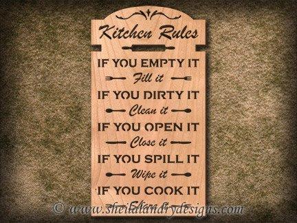 Kitchen Rules Scroll Saw Pattern